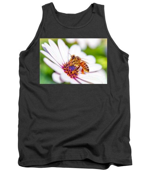 Beautiful Bee On Daisy Tank Top