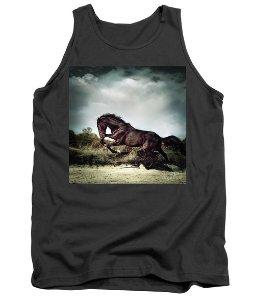 Beautiful Black Stallion Horse Running On The Stormy Sky Tank Top