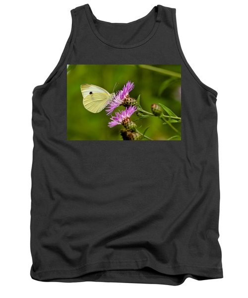 Beautiful Butterfly On Pink Thistle Tank Top