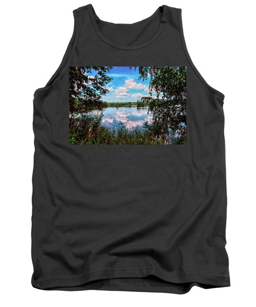beautiful forest lake in Sunny summer day Tank Top