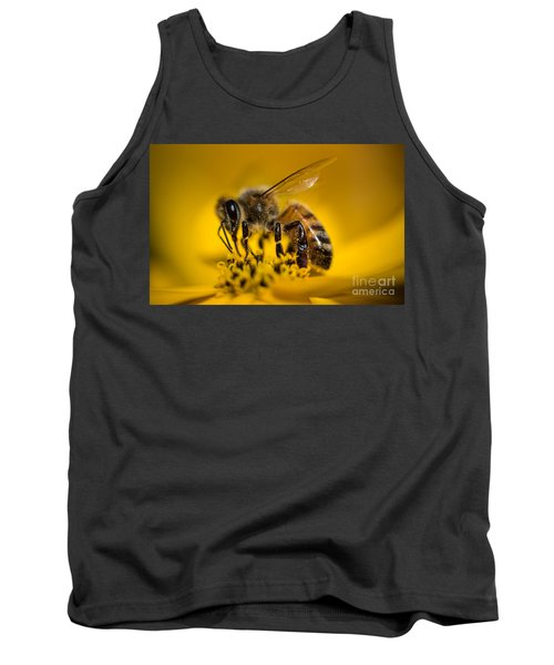 Bee Enjoys Collecting Pollen From Yellow Coreopsis Tank Top