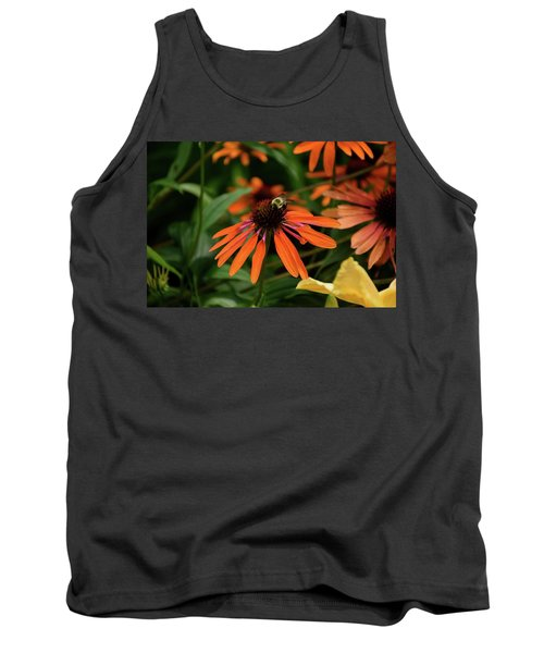 Bee Pollinating On A Cone Flower Tank Top