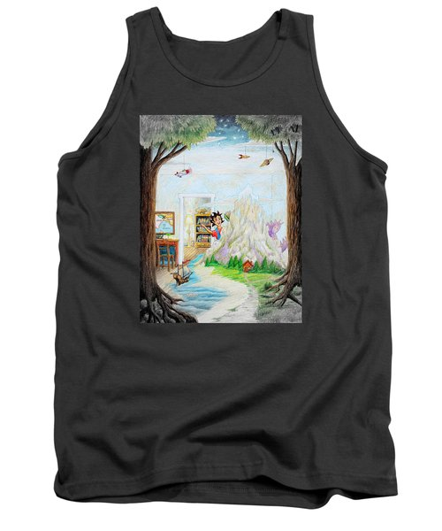 Tank Top featuring the painting Beginning A Book by Matt Konar