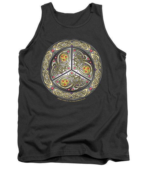Tank Top featuring the mixed media Bejeweled Celtic Shield by Kristen Fox