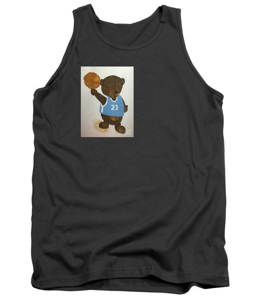 Tank Top featuring the painting Benny Bear Basketball  by Tamir Barkan