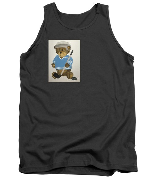 Tank Top featuring the painting Benny Bear Hockey by Tamir Barkan