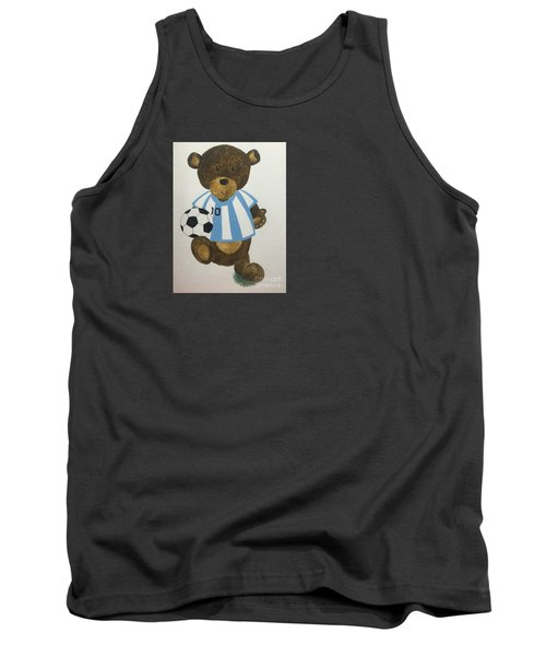 Tank Top featuring the painting Benny Bear Soccer by Tamir Barkan