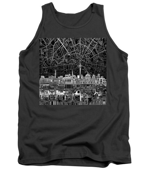 Berlin City Skyline Abstract 4 Tank Top by Bekim Art