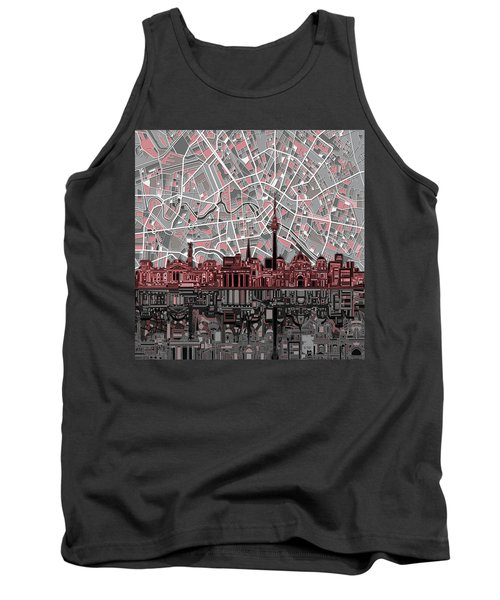 Berlin City Skyline Abstract Tank Top by Bekim Art