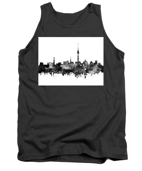 Berlin City Skyline Black And White Tank Top by Bekim Art