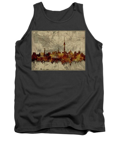 Berlin City Skyline Vintage Tank Top by Bekim Art