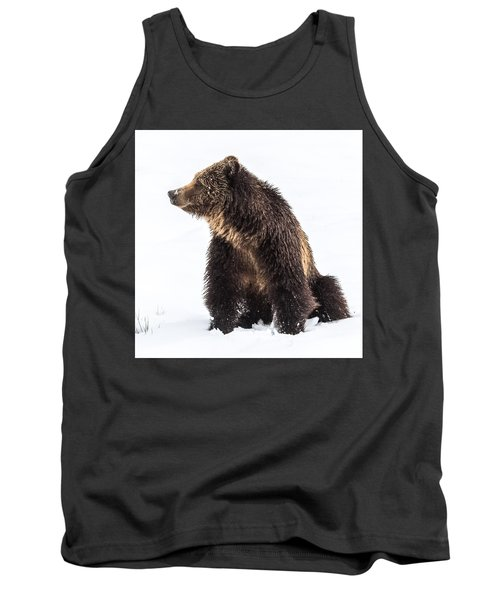 Tank Top featuring the photograph Beryl Springs Grizzly Sow In Snow by Yeates Photography