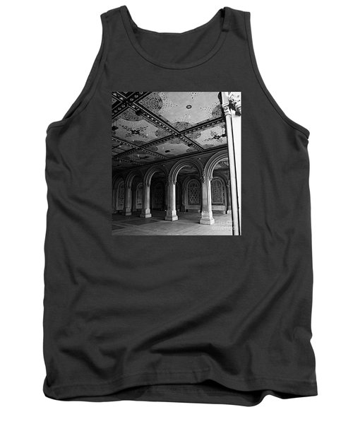 Bethesda Terrace Arcade In Central Park - Bw Tank Top by James Aiken