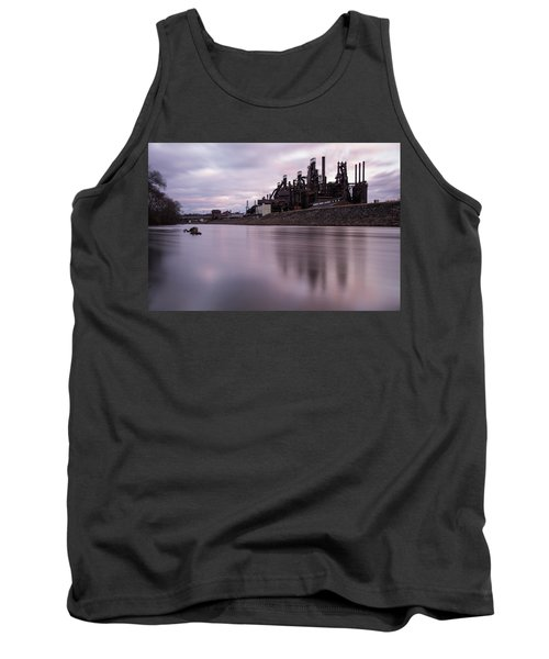 Tank Top featuring the photograph Bethlehem Steel Sunset by Jennifer Ancker
