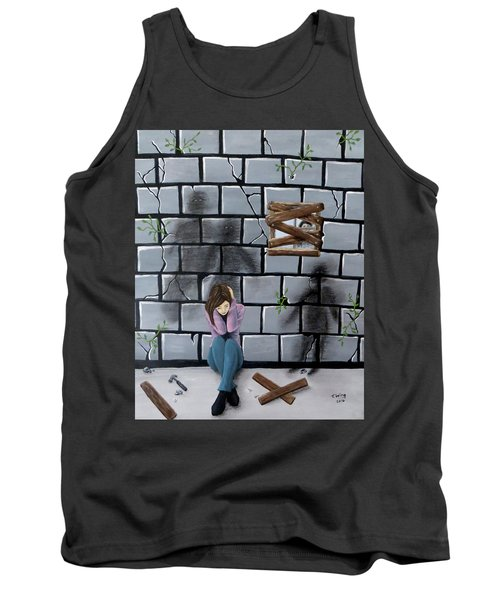 Tank Top featuring the painting Beyond The Wall by Teresa Wing