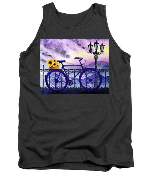 Blue Bicycle And Sunflowers By Irina Sztukowski  Tank Top