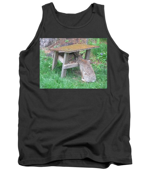Big Eyed Rabbit Eating Birdseed Tank Top by Betty Pieper