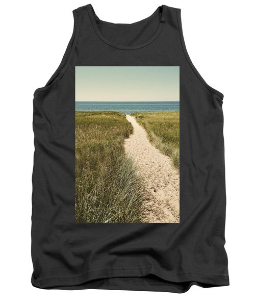 Tank Top featuring the photograph Big Lake Beach Path by Michelle Calkins