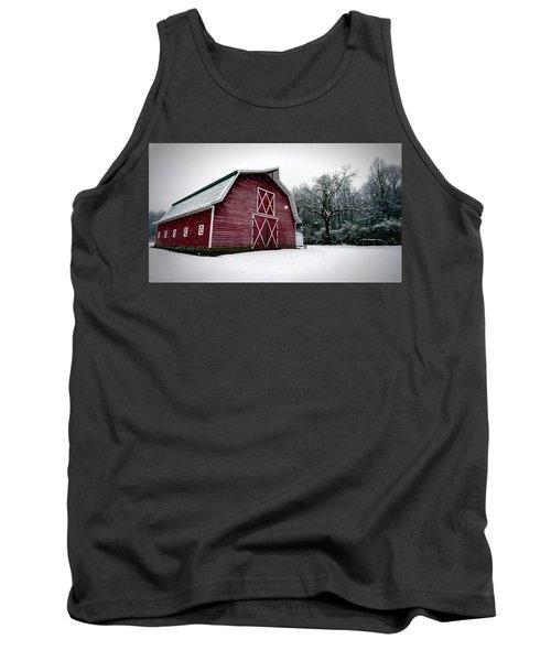 Big Red Barn In Snow Tank Top