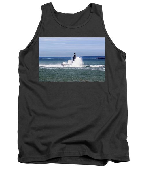 Big Wave Hits Ram Island Ledge Light Tank Top