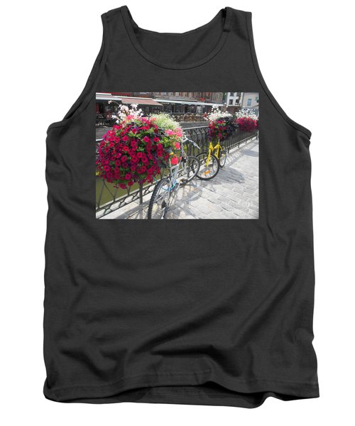Tank Top featuring the photograph Bike And Flowers by Therese Alcorn