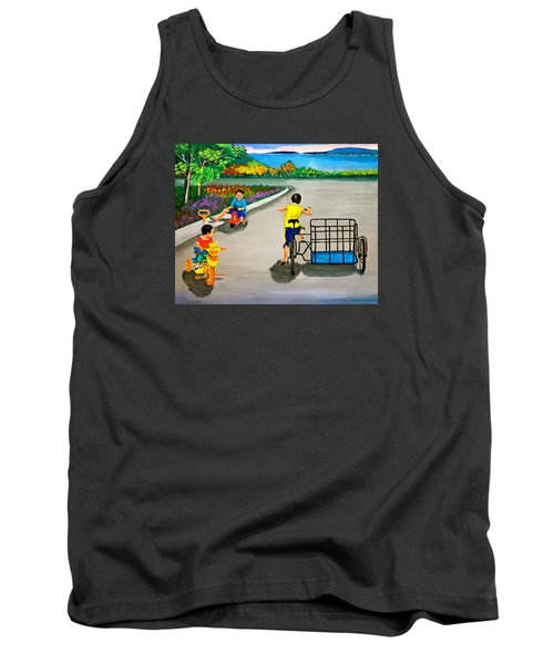 Tank Top featuring the painting Bikes by Cyril Maza