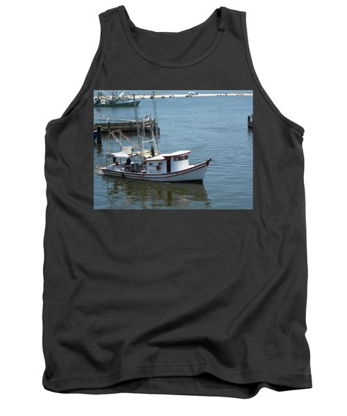 Tank Top featuring the photograph Bilouxi Shrimp Boat by Cynthia Powell