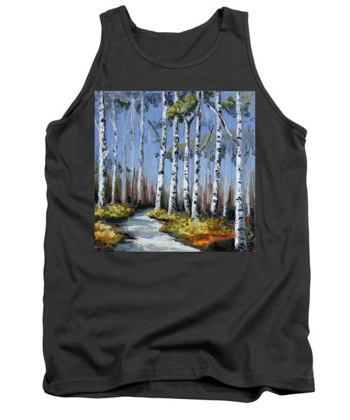 Birch Tree Path Tank Top by Trina Teele