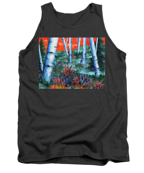 Tank Top featuring the painting Birch Trees At Sunset by Curtiss Shaffer