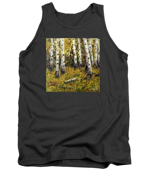 Tank Top featuring the painting Birches by Arturas Slapsys