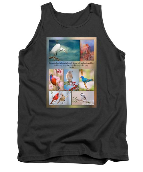 Bird Collage With Motivational Quote Tank Top by Bonnie Barry