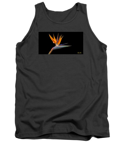 Tank Top featuring the photograph Bird Of Paradise Flower On Black by Rikk Flohr