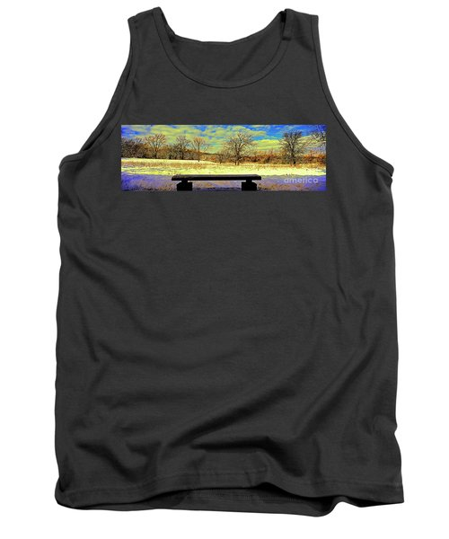 Bird Watchers Bench Winter Crabtree Nature Center Cook County Il Tank Top