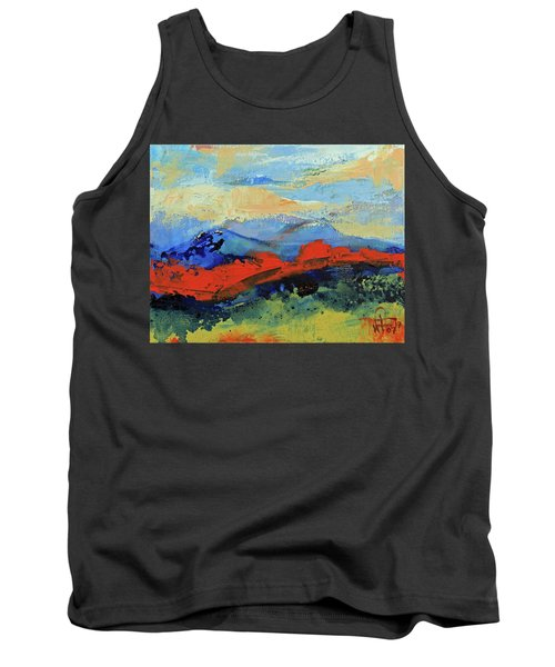 Tank Top featuring the painting Bishop Mountains - Fall 2016 by Walter Fahmy