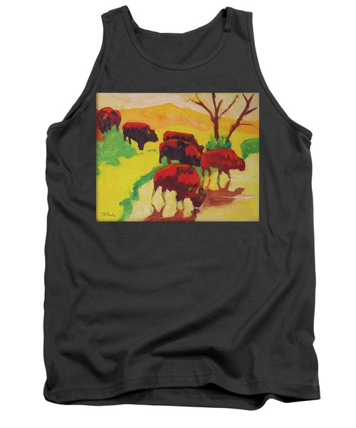 Bison Art Bison Crossing Stream Yellow Hill Painting Bertram Poole Tank Top by Thomas Bertram POOLE