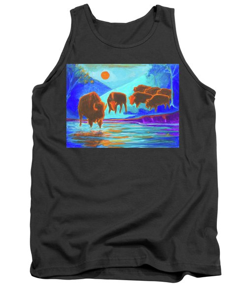 Tank Top featuring the painting Bison Art - Seven Bison At Sunrise Yosemite Painting T Bertram Poole by Thomas Bertram POOLE