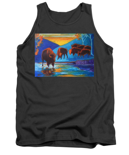 Bison Turquoise Hill Sunset Acrylic And Ink Painting Bertram Poole Tank Top by Thomas Bertram POOLE