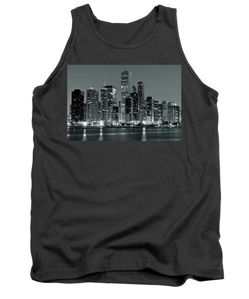 Tank Top featuring the photograph Black And White And Grey Chicago Night by Frozen in Time Fine Art Photography