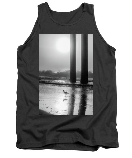 Tank Top featuring the photograph Black And White Bird Beach by John McGraw