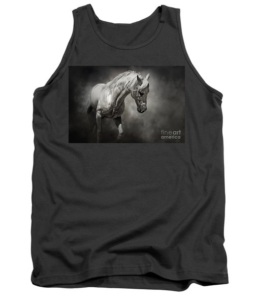 Black And White Horse - Equestrian Art Poster Tank Top