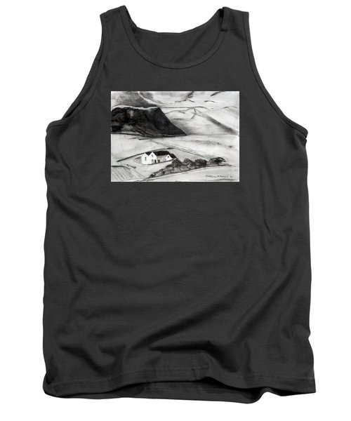 Black And White House And Hills Tank Top