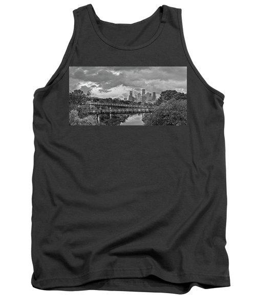 Black And White Panorama Of Downtown Houston And Buffalo Bayou From The Studemont Bridge - Texas Tank Top