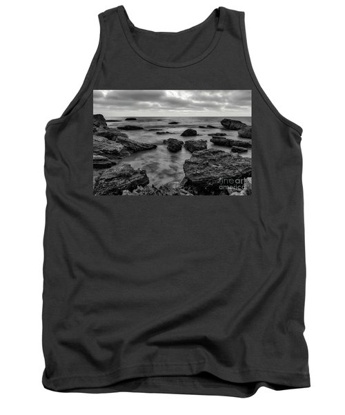 Black And White Sunset At Low Tide Tank Top