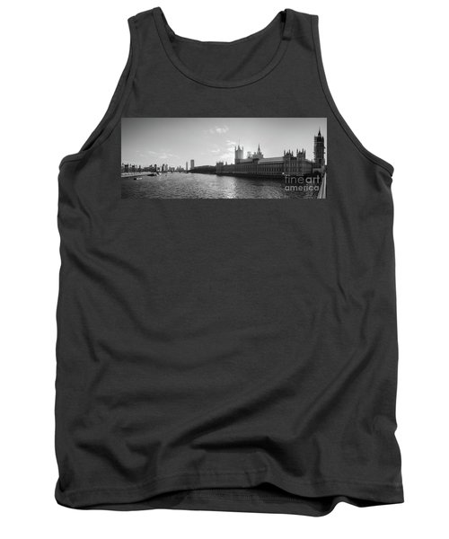 Black And White View Of Thames River And House Of Parlament From Tank Top