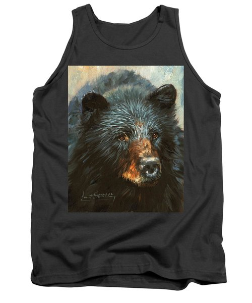 Tank Top featuring the painting Black Bear by David Stribbling