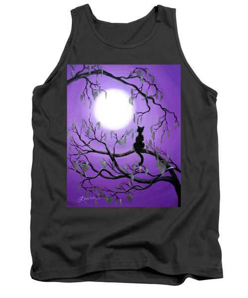 Black Cat In Mossy Tree Tank Top by Laura Iverson