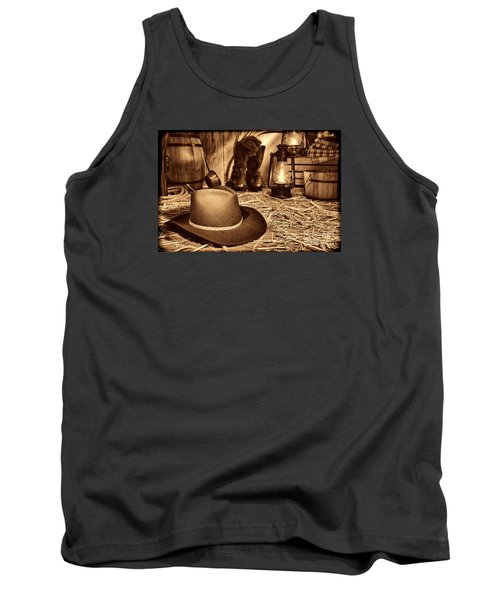 Black Cowboy Hat In An Old Barn Tank Top