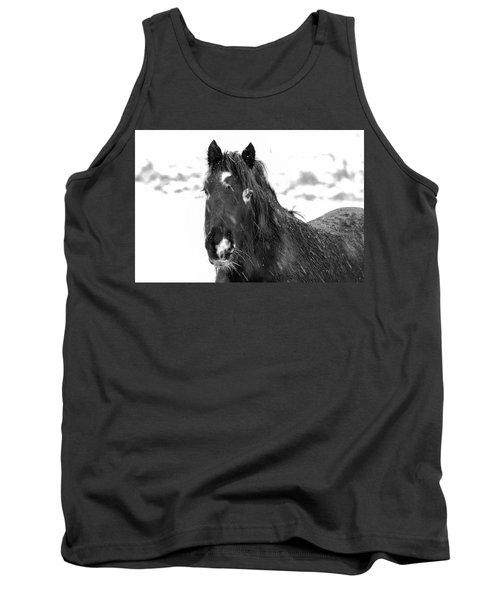 Black Horse Staring In The Snow Black And White Tank Top