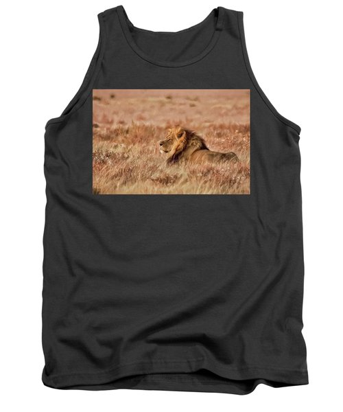 Black-maned Lion Of The Kalahari Waiting Tank Top
