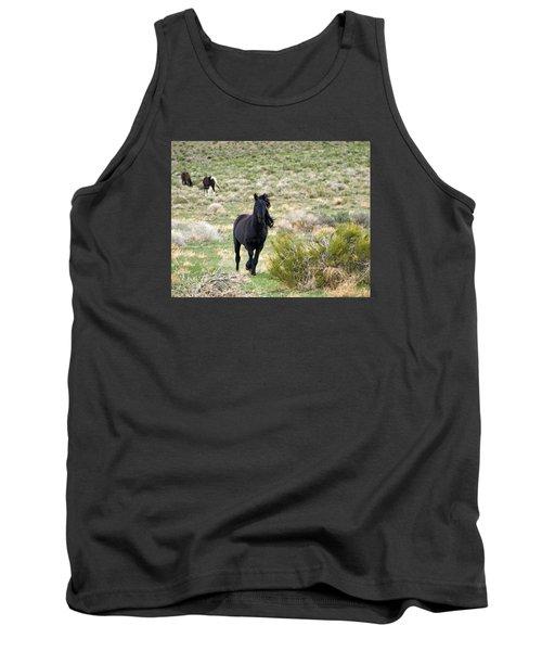 Black Mustang Stallion Running Tank Top